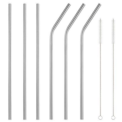 Accmor 18/8 Stainless Steel Straws, Reusable Metal Drinking Straws for 30 20 Oz Yeti Tumbler Rambler Cups(6, FBA)