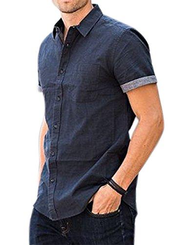 Gprince Mens Casual Denim Button Down Short Sleeve Slim Shirt