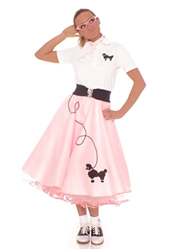 Hip Hop 50s Shop Adult 7 Piece Poodle Skirt Costume Set Light Pink XXXLarge by Hip Hop 50s Shop