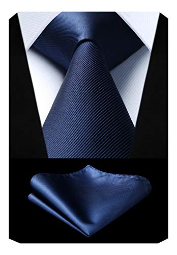 Mens Solid Navy Blue Tie Classic Necktie Tie and Pocket Square Set with Gift Box by HISDERN ()
