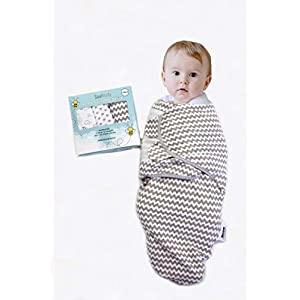 Baby Swaddle Wrap Sack (Set of 3) for Newborn and Baby (0-3 Months) – 100% Premium Breathable Soft Cotton – Gray Unisex Design for Boy & Girl – Adjustable Infant Swaddle Blanket