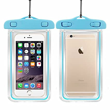 best sneakers 84bea 7e1bb SAFESEED Waterproof Mobile Pouch For All Smart Phone Dimensions Upto 160X80  mm - Sky Blue