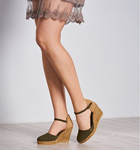 VISCATA Satuna Ankle-Strap, Closed Toe, Classic Espadrilles with 3-inch Heel Made in Spain Verde