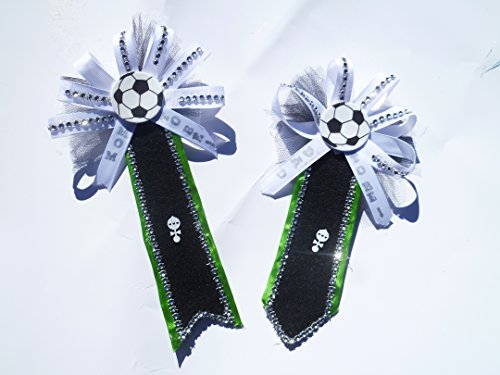 Soccer SportsTheme Baby Shower Theme Corsage Mom & Dad to Be (BookMrk& Tie- Black, White Green &Bling ) (Baby Feet Pin)