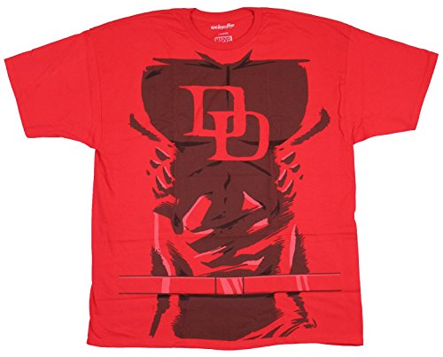 [Daredevil (Marvel Comics) Mens T-Shirt - DD Abbed Up Costume Front Image (Extra Large) Red] (Daredevil Costumes Marvel)
