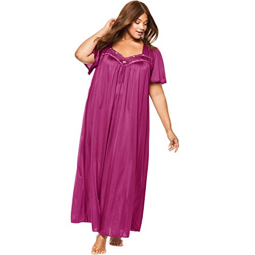 Only Necessities Women's Plus Size Long Silky Lace-Trim Gown - Raspberry, 2X ()
