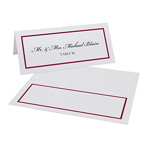 Single Line Border Place Cards, White, Burgundy, Set of 375 by Documents and Designs