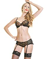 Angelina Lacy Bra and Panty Set with Garter Belt and A FREE Pair of Thigh High