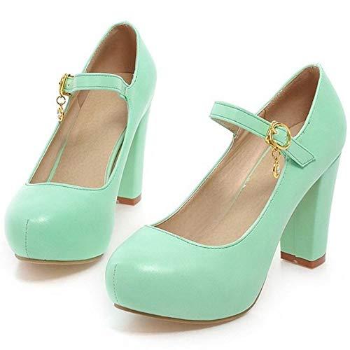 Talon Mary Chaussures Escarpins Vert Jane TAOFFEN Bloc Femmes qAn6R6