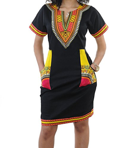 Clothing African Print - shekiss Women's Bohemian Bodycon Dashiki African Vintage Print V-Neck Club Midi Dress Black/Yellow