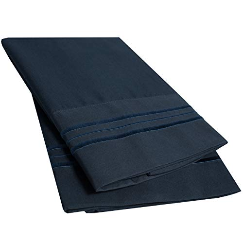 - Sweet Home Collection 2 Pack Pillow Case Set 1800 Series Fine Double Brushed Microfiber Triple Marrow Stitch Pillowcases, Standard (Queen), Navy