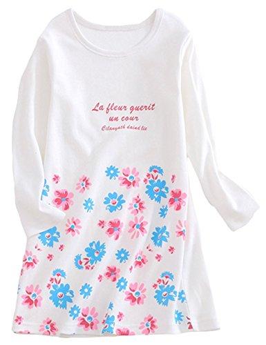 Abalaco Girls Kids Cotton Summer Cartoon Nightgown Sleepwear Dress Pretty Home Dress 3-12T