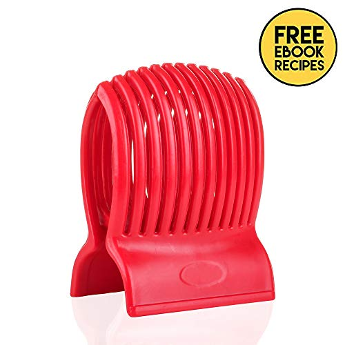 Multiuse Tomato Slicer Holder with Firm Grip Ergonomic 13 Dividers Design for Precise Cuts Slicing Shredding Tomatoes Lemons Potatoes Round Fruits Vegetables with Bonus eBook (Tomato Slicer)