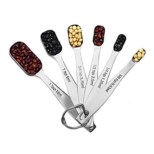 Nesee Stainless Steel Metal Measuring Spoons, Ergonomic Set of 6 for Dry and Liquid Ingredients, Narrow Shape Easily Fits in Spice Jars (Best Way To Get Rust Off Metal)