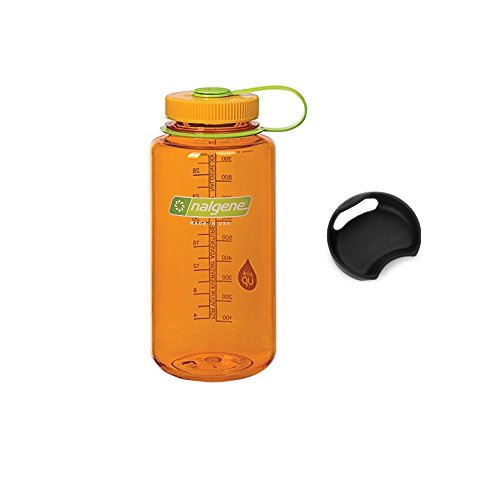 Bike A Mile Nalgene Tritan 32oz Wide Mouth BPA-Free Water Bottle Including A Removable SplashGuard (Clementine, 32-Ounces)