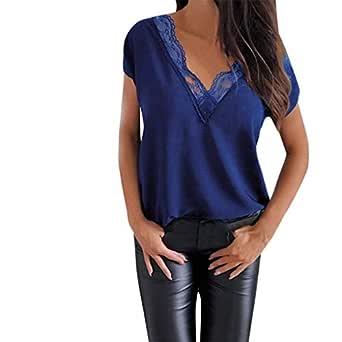 MOTOCO Camisa Casual de Mujer Camiseta de Verano Cuello En V ...