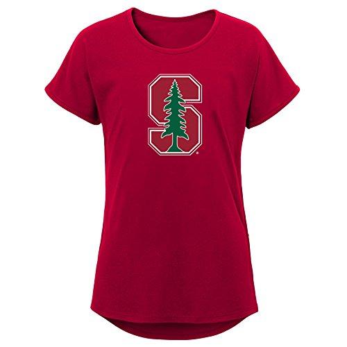 NCAA Stanford Cardinal Youth Girls Primary Logo Dolman Tee, Youth Girls Large(14), Dark -