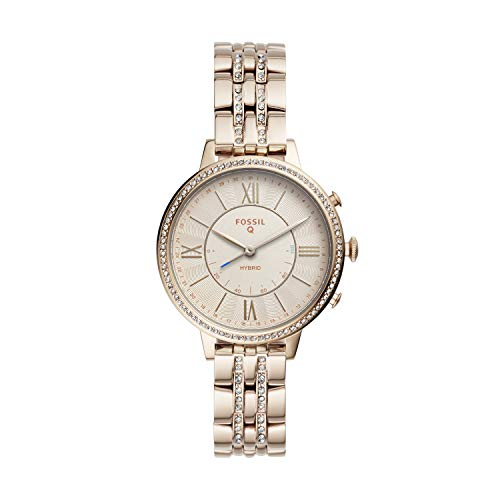 (Fossil Women's Jacqueline Stainless Steel Hybrid Smartwatch, Color: Pastel Pink (Model: FTW5036))