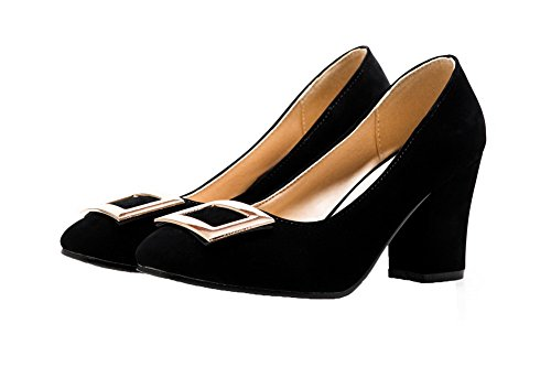 AllhqFashion Womens High-Heels Imitated Suede Square Closed Toe Pumps-Shoes Black SYuFe
