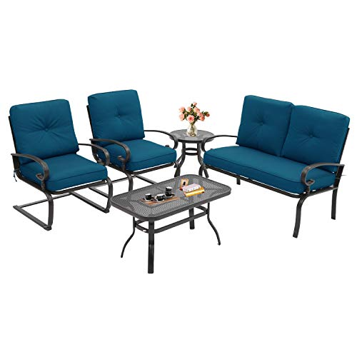 Incbruce 5Pcs Outdoor Patio Furniture Conversation Sets (Loveseat, Coffee Table and Bistro Table, 2 Spring Chair) -Wrought Iron Chair Set with Peacock Blue Cushions (Sales Outdoor Furniture Patio)