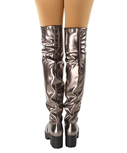 Fitted Chunky Heel RF Sole Boots Pewter The Women's Knee Metallic Stacked Lugged Over 4w5xxZSq