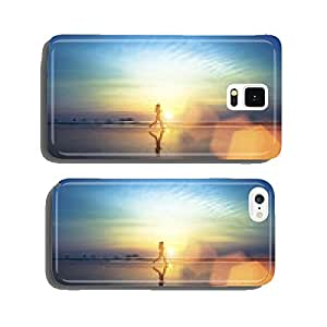 Young girl running along the beach. cell phone cover case Samsung S5