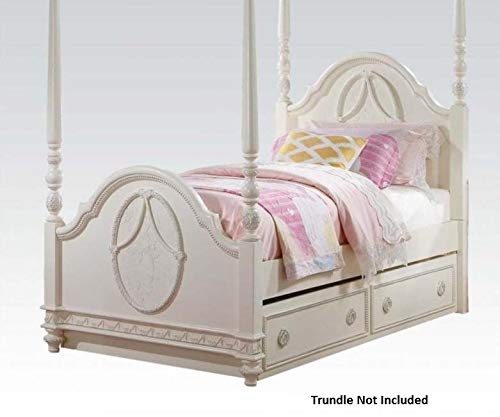 Acme Furniture 30360T Dorothy Twin Poster Bed, Ivory