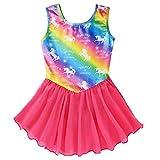 Sylfairy Gymnastics Wrap Skirted Leotards for Girls Kids Sparkle Rainbow Unicorn Gymnastic Skirt, Dance Ballet Dress(Rainbow,5-6Years)