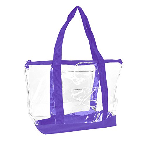 DALIX Clear Shopping Bag Security Work Tote Shoulder Bag Womens Handbag (Purple)