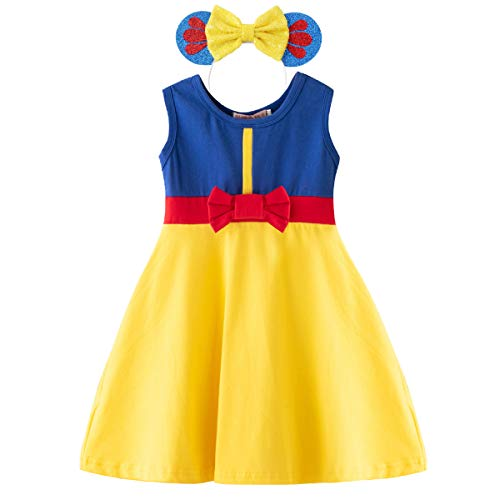 MYRISAM Little Girls Princess Snow White Birthday Halloween Carnival Fancy Dress up Costumes Tee-Shirt Dress + Headband 18-24M