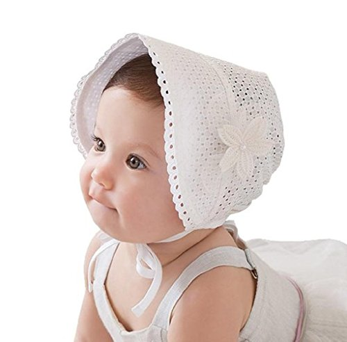 AMA(TM) Newborn Baby Girls Royal Lace Flower Breathable Sun Hat Sunbonnet (White)