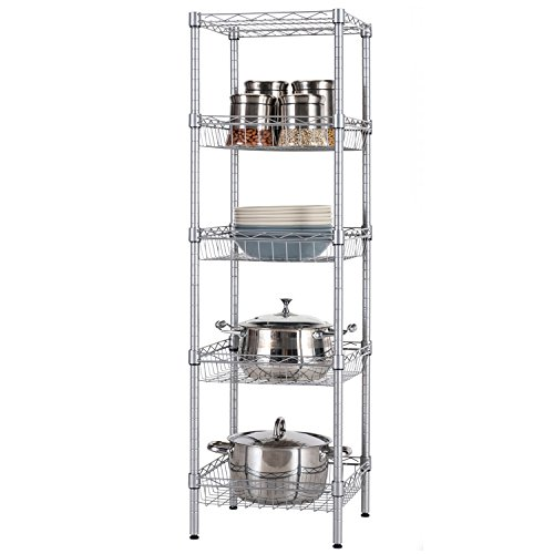 SINGAYE Storage Shelves, 5-Tier Wire Shelving Unit with Baskets Shelving Adjustable Storage Shelf, 13.4