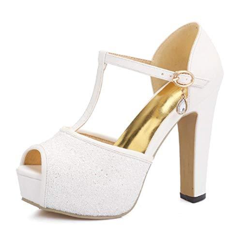 - JOYBI Women's Platforms Pumps T-Strap Glitter Ankle Strap Peep Toe Bridal Party Wedding Comfy High Heel Sandals White