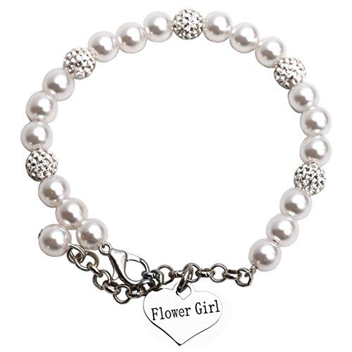 Childs Flower Ring - LParkin Flower Girl Bracelet Flowergirl Pearl Bracelet Flowergirl Gift Jewelry (Bracelet)