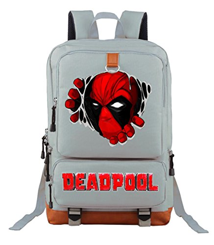 YOURNELO Unisex Leisure Deadpool School Badge Backpack Bookbag (Grey 2) -