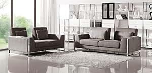 Grey Orion Fabric Sofa Set with Adjustable Backrests