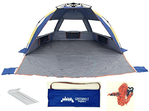 Greenbelt Xl Beach Tent Sun Shelter With Uv Protection Wind Proof   Family Sized Comfort   Super Easy Pop Up With Extra Strength Wont Break Poles   Great For Everyone  Families  Toddlers  Baby