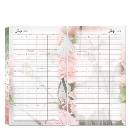- Pocket Blooms Two Page Monthly Ring-Bound Tabs - Jul 2019 - Jun 2020