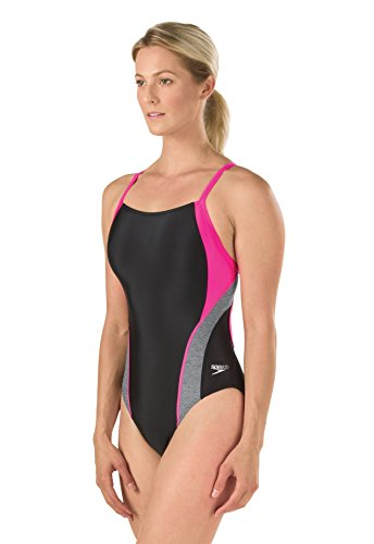 Speedo Women's Relaunch Flyback One Piece Swimsuit, Power Pink, - 30 Piece One