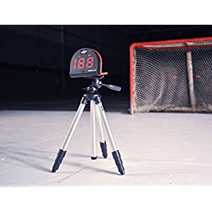 "HOCKEYSHOT Puck and Ball Speed Radar Hockey Training Aids Large red 2 1/8"" 3 digit LED display Speed range 3 mph to 150 mph."