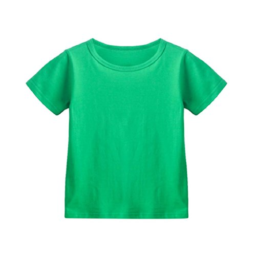 (ShenPr Toddler Children Baby Girls Boys Solid Candy Color Round Neck Cotton Short Sleeve T Shirt Tops Tee (Green, 2T))