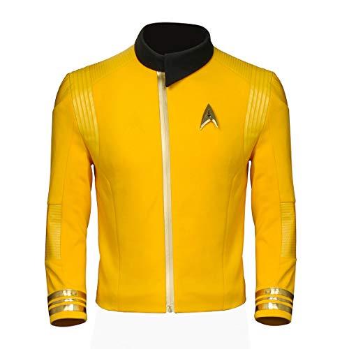 - PartyEver Trek Discovery Commander Uniform Jacket 2019 New Starfleet USS Captain Pike Cosplay Costume Halloween Men's Outfit (XX-Large) Gold