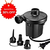 KUMEED Electric Air Pump Quick-Fill Inflator for Inflatables Camp Bed Mattress Rafts Pool Float, Portable Air Pump Inflator Deflator in 110V - Black