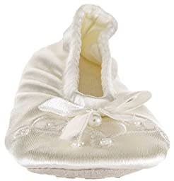 On Your Feet Girl\'s Embroidered Pearl Satin Ballerina Slippers Ivory X-Small 9-10