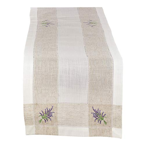 Fennco Styles Hommage Brodé Collection Cottage Lavender Embroidery Hemstitch Border Linen Blend 15 x 70 Inch Table Runner - Ivory Table Runner for Wedding, Banquet, Tea Party and Home Décor