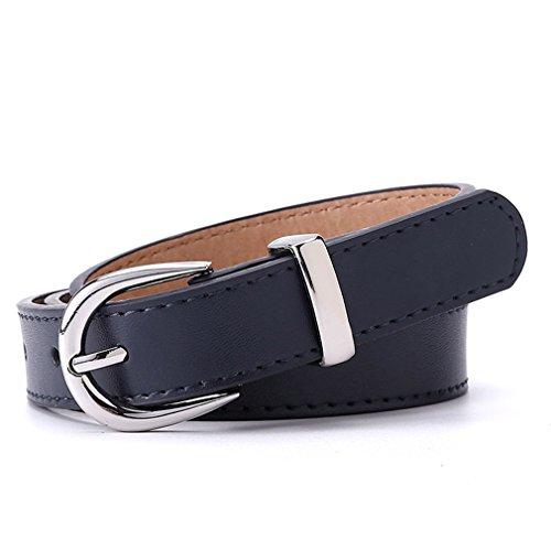 Women Belt For Dress Apparel Lady Belt Waist Pu Leather Sliver Buckle Dark Blue 80cm 24to27 Inch