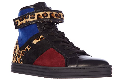 Scarpe Da Donna Hogan Rebel Scarpe Da Ginnastica Alte In Pelle Scamosciata Sneakers Rebel R182 Cinturino Blac