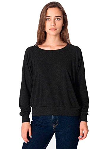 American Apparel Women's Tri-Blend Rib Light Weight Raglan Pullover, Tri/Black, Medium