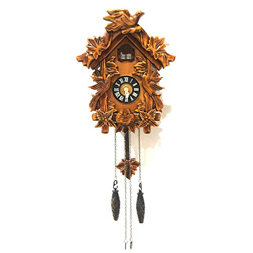 Handcrafted Cuckoo Clock - ALEKO CKC02 Handcrafted Cuckoo Wall Clock Home Art with Chirping Bird 10.5 x 9 x 5 Inches Brown