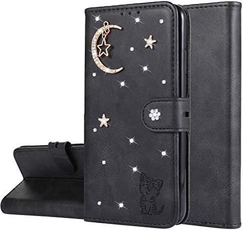 Miagon Diamant Brieftasche Hülle für Samsung Galaxy A6 2018,Mond Star Katze 3D Design PU Leder Flip Handyhülle Klapphülle Klappbar Silikon Bumper Schutzhülle,Schwarz